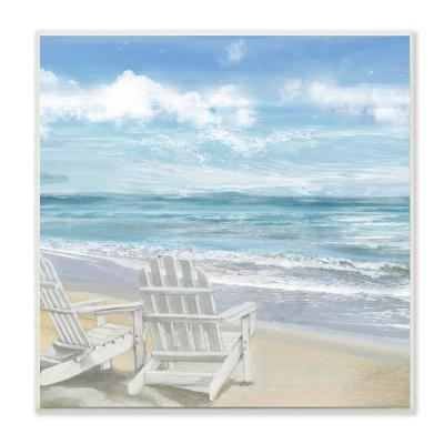"""12 in. x 12 in. """"White Adirondack Chairs on the Beach Painting"""" by Artist Main Line Art and Design Wood Wall Art"""