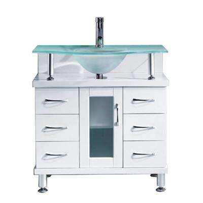 Vincente 32 in. W Bath Vanity in White with Glass Vanity Top in Aqua with Round Basin