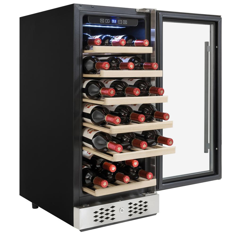15 in. 30-Bottle Wine and 60-Can Built-in Compressor Beverage Cooler