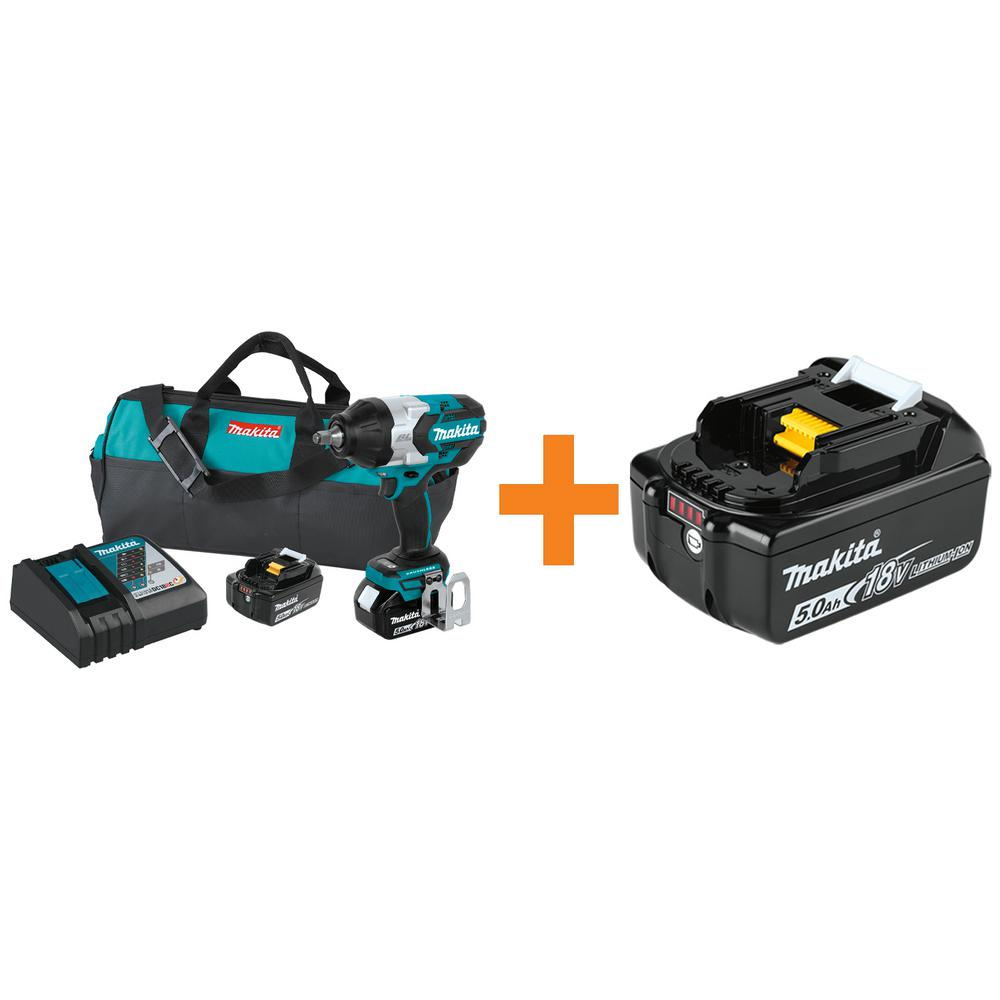 Makita 18-Volt LXT Brushless High Torque 1/2 in. Square Drive Impact Wrench 5.0 Ah with Bonus 18-Volt LXT Battery Pack 5.0 Ah