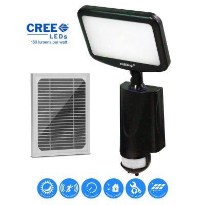 4-Watt 180-Degree Black Motion Activated Outdoor Solar Powered Cree LED Smart Security Flood Spot Parking Path Light