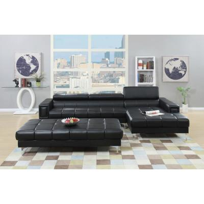 2-Piece Black Leather 6-Seater L-Shaped Sectional Sofa with Metal Legs