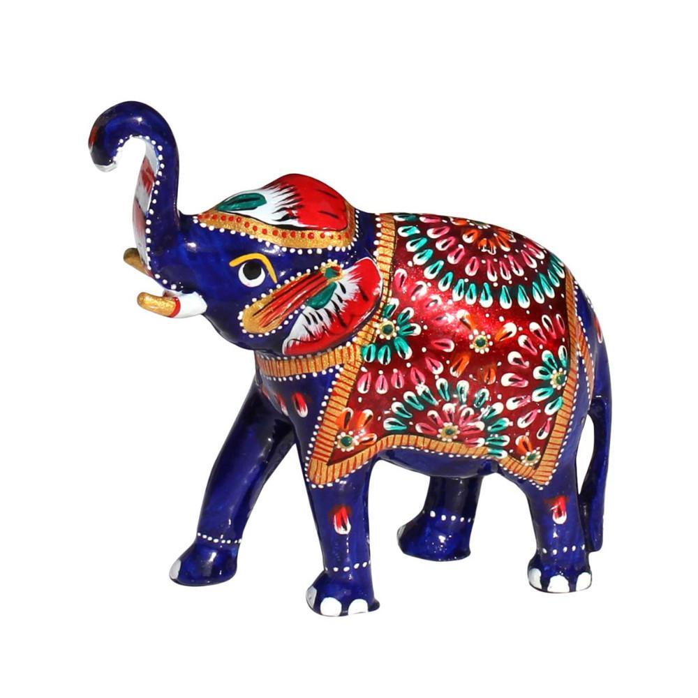 Trunk Up Metal Multicolor Elephant Figurine with Meenakari Work