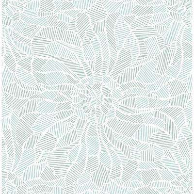 56.4 sq. ft. Daydream Blue Abstract Floral Wallpaper