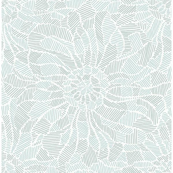 A-Street 8 in. x 10 in. Daydream Blue Abstract Floral Wallpaper Sample