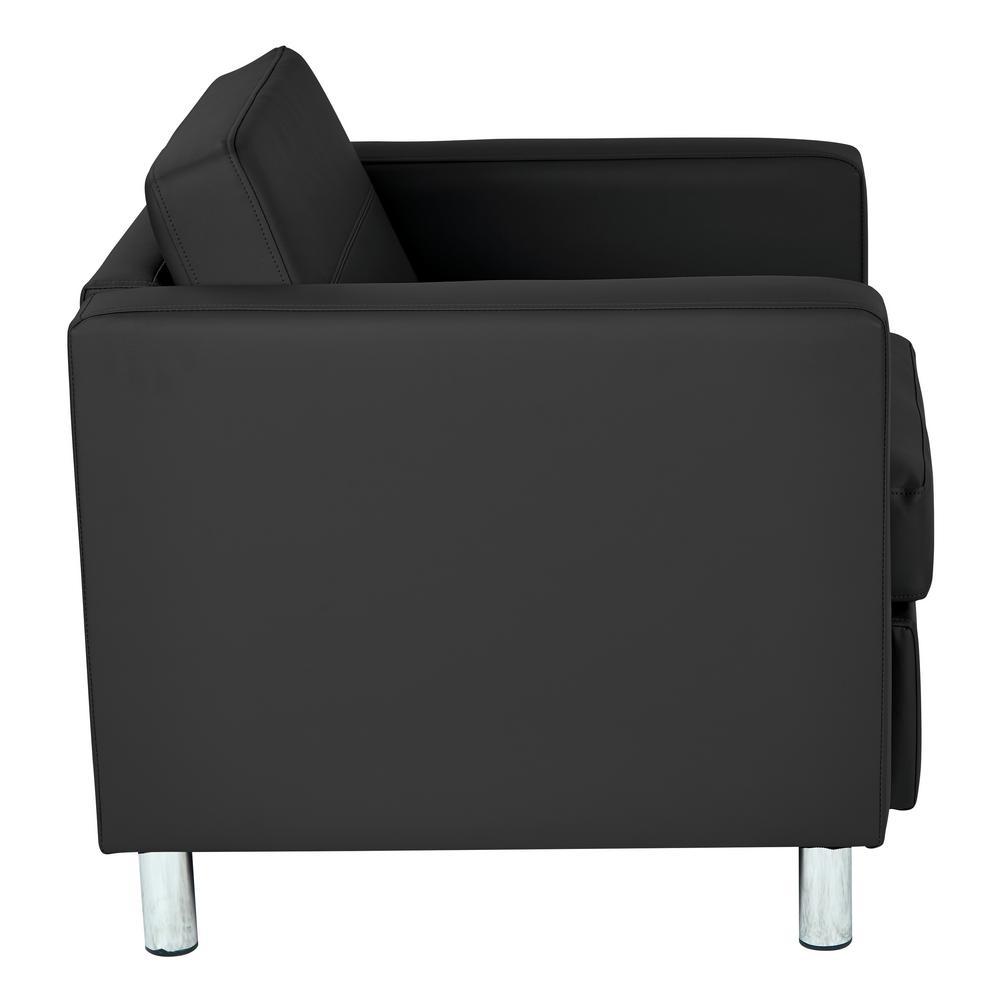 Excellent Pacific Dillon Black Vinyl Fabric Arm Chair Machost Co Dining Chair Design Ideas Machostcouk