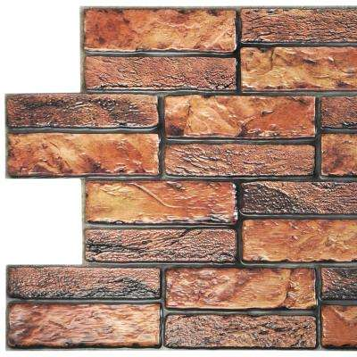 3D Falkirk Retro 20/1000 in. x 38 in. x 19 in. Brown Red Faux Old Brick PVC Wall Panel