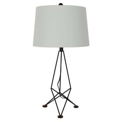 Kiev 29 in. Black Espresso Wood and Metal Table Lamp with Shade