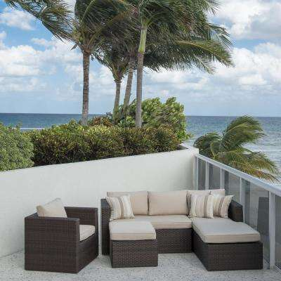 Allen Brown 4-Piece Wicker Outdoor Sectional Set with Sunbrella Cushions