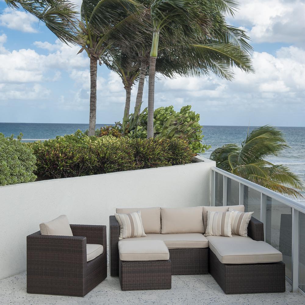 Allen Brown 4-Piece Wicker Outdoor Sectional Set with Sunbrella Cushions