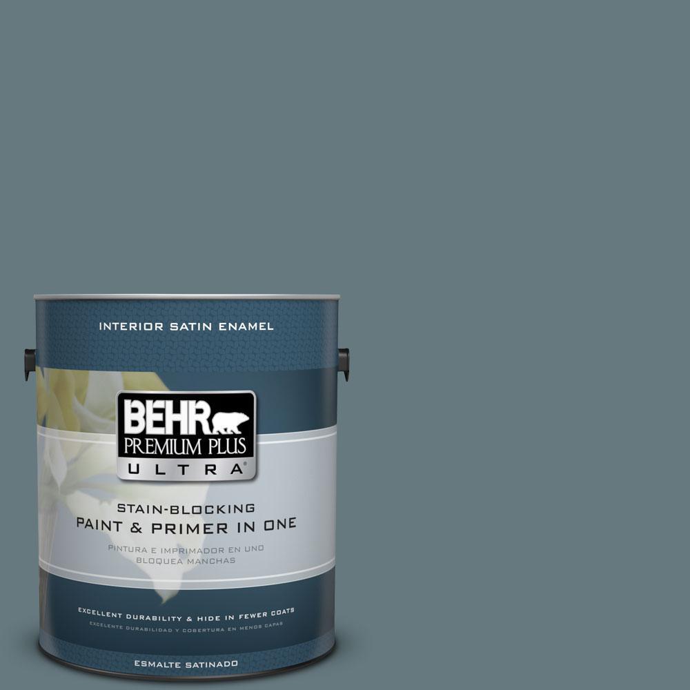BEHR Premium Plus Ultra 1-gal. #BXC-81 Crater Lake Satin Enamel Interior Paint