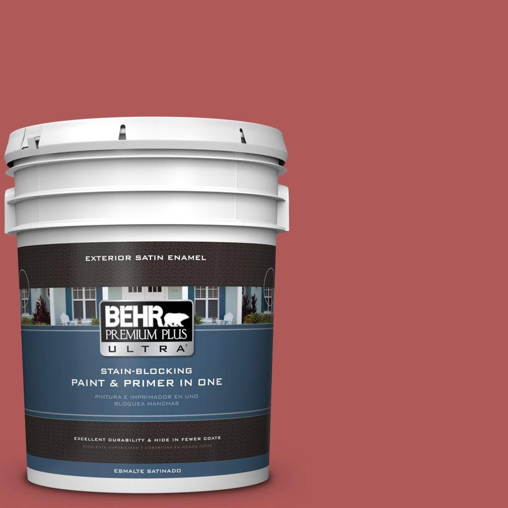 BEHR Premium Plus Ultra 5-gal. #160D-6 Pottery Red Satin Enamel Exterior Paint, Reds/Pinks