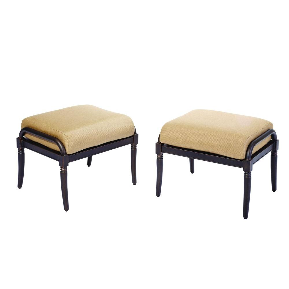Hampton Bay Madison Patio Ottomans with Textured Golden Wheat Cushions (2-Pack)-DISCONTINUED