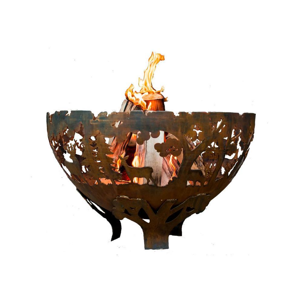 Esschert Design Wildlife 32 in. x 19 in. Round Steel Wood Burning Fire Pit in Rust