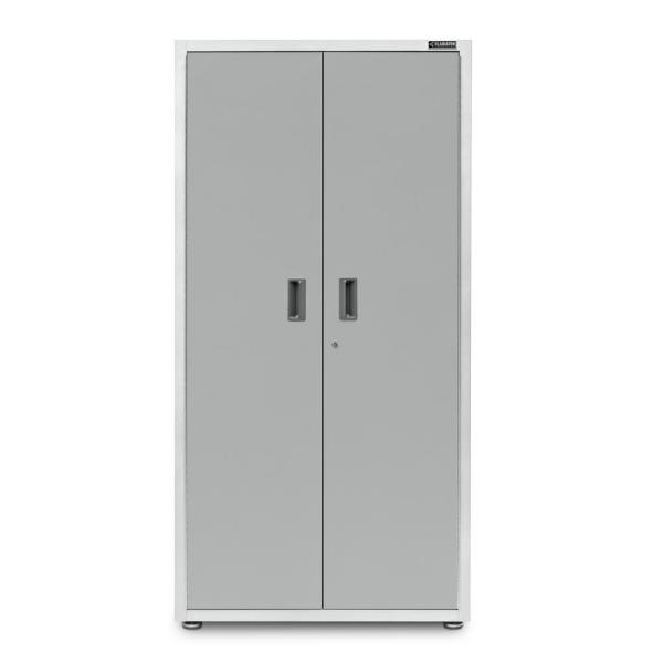 Ready-to-Assemble 72 in. H x 36 in. W x 18 in. D Steel Freestanding Garage Cabinet in White