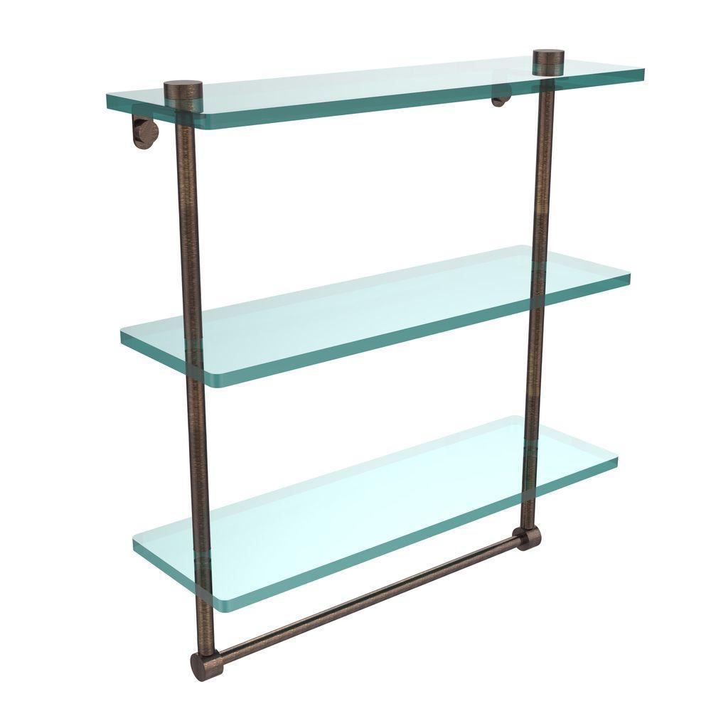 16 in. L  x 18 in. H  x 5 in. W 3-Tier Clear Glass Bathroom Shelf with Towel Bar in Venetian Bronze