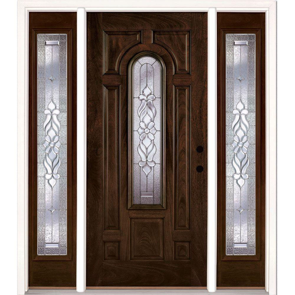 Feather River Doors 67.5 in. x 81.625 in. Lakewood Zinc Stained Chestnut Mahogany Left-Hand Fiberglass Prehung Front Door with Sidelites