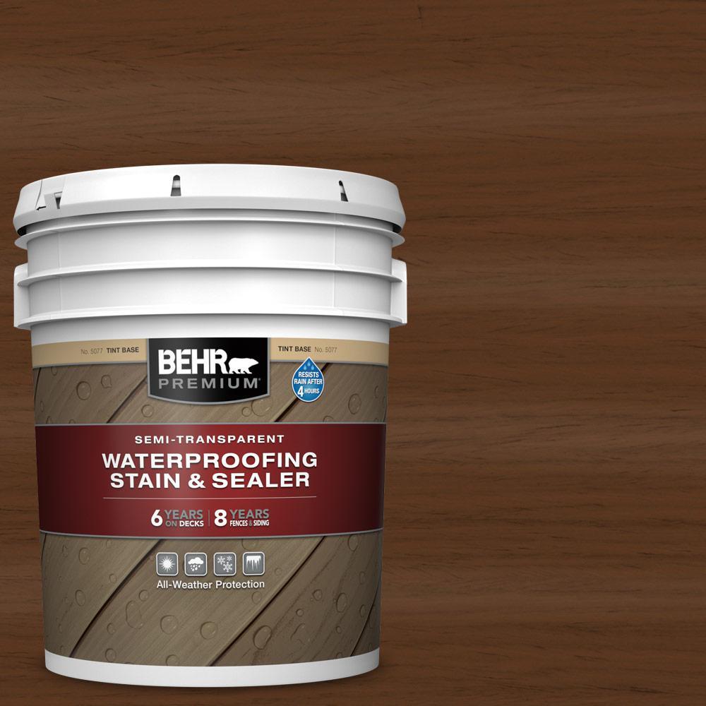 BEHR Premium 5 gal. #ST-129 Chocolate Semi-Transparent Waterproofing Exterior Wood Stain and Sealer