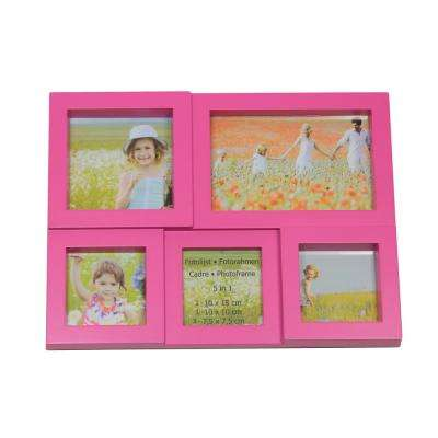 11.5 in. Pink Multi-Sized Puzzled Photo Picture Frame Collage Wall Decoration