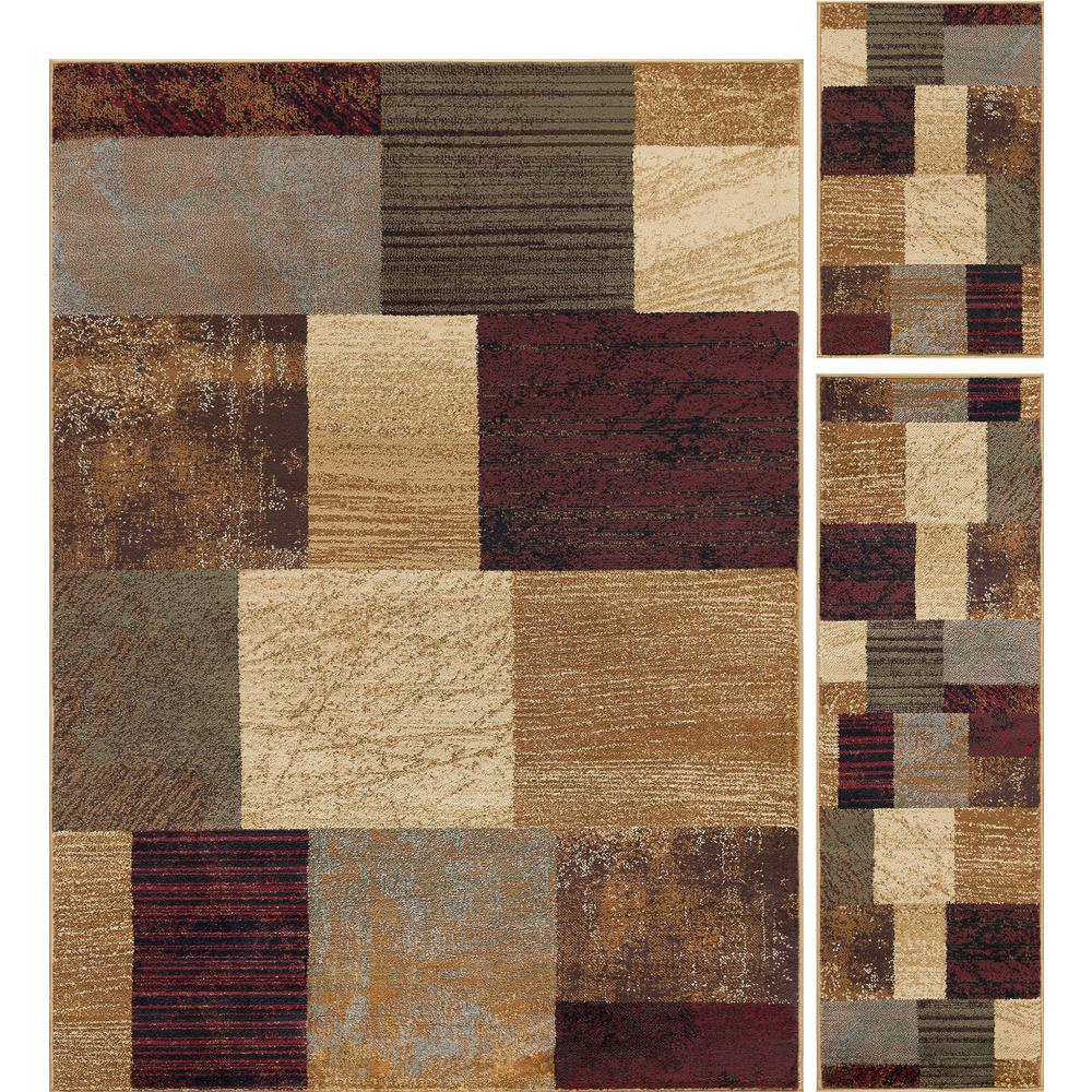 lovely 3 Piece Rug Sets Cheap Part - 4: Tayse Rugs Elegance Multi 5 ft. x 7 ft. 3-Piece Rug Set-5210 Multi 3 Pc.  Set - The Home Depot