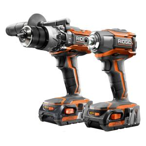 ridgid 18 volt lithium ion cordless hammer drill driver and impact driver combo kit r9624 the. Black Bedroom Furniture Sets. Home Design Ideas