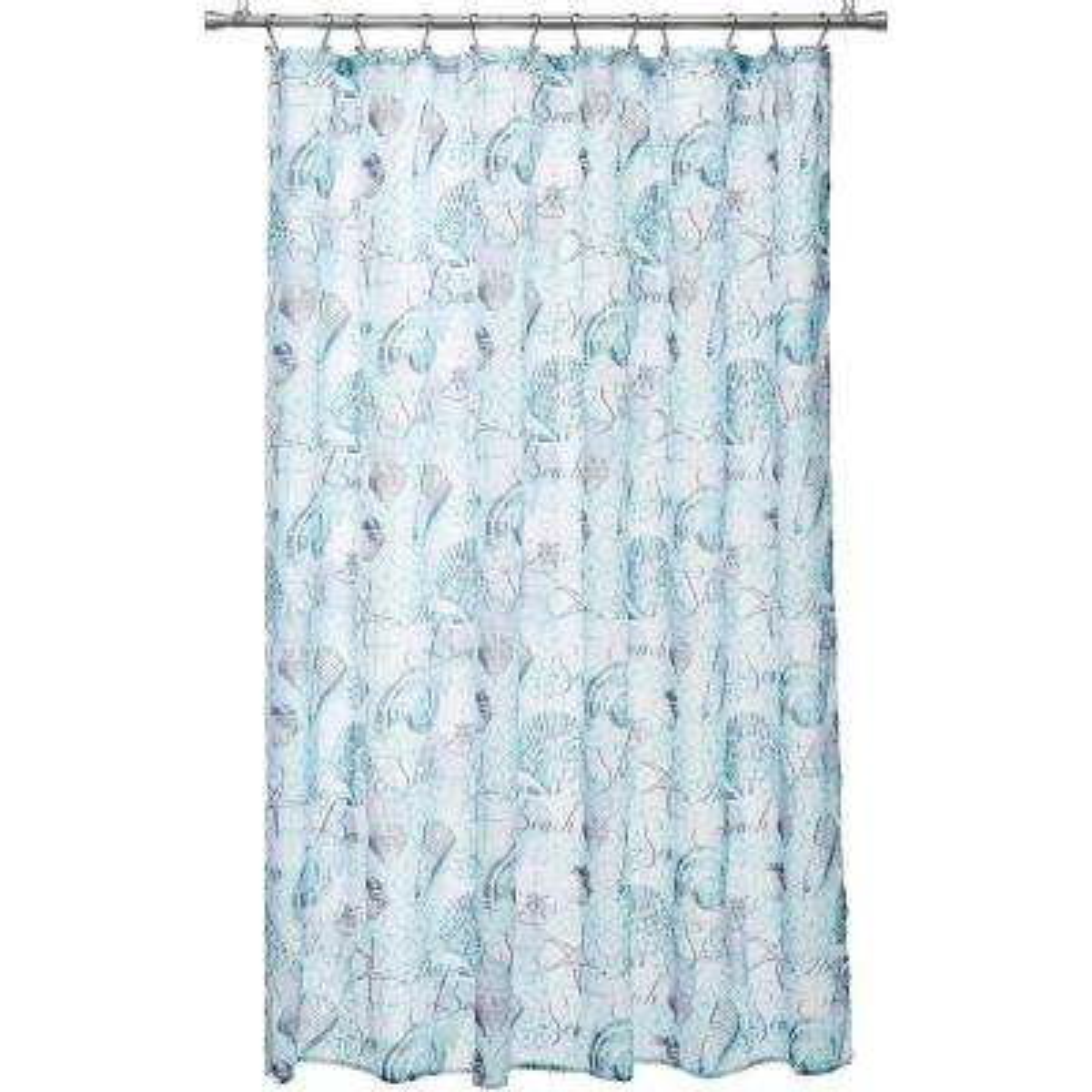 Marina 70 in. Beach and Seashells Design Shower Curtain