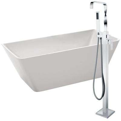 Zenith 67 in. Acrylic Flatbottom Non-Whirlpool Bathtub in White with Yosemite Faucet in Polished Chrome