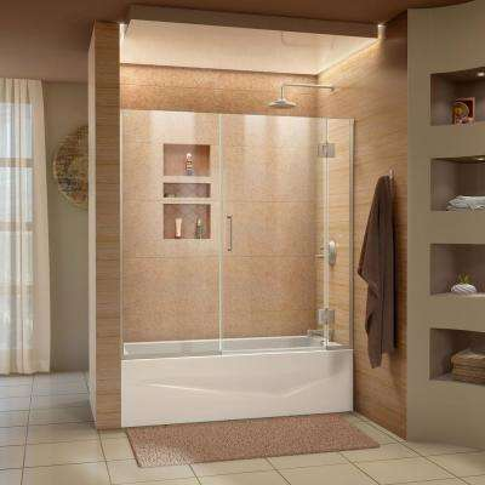 Unidoor-X 58.5 in. W x 58 in. H Frameless Hinged Tub Door in Brushed Nickel