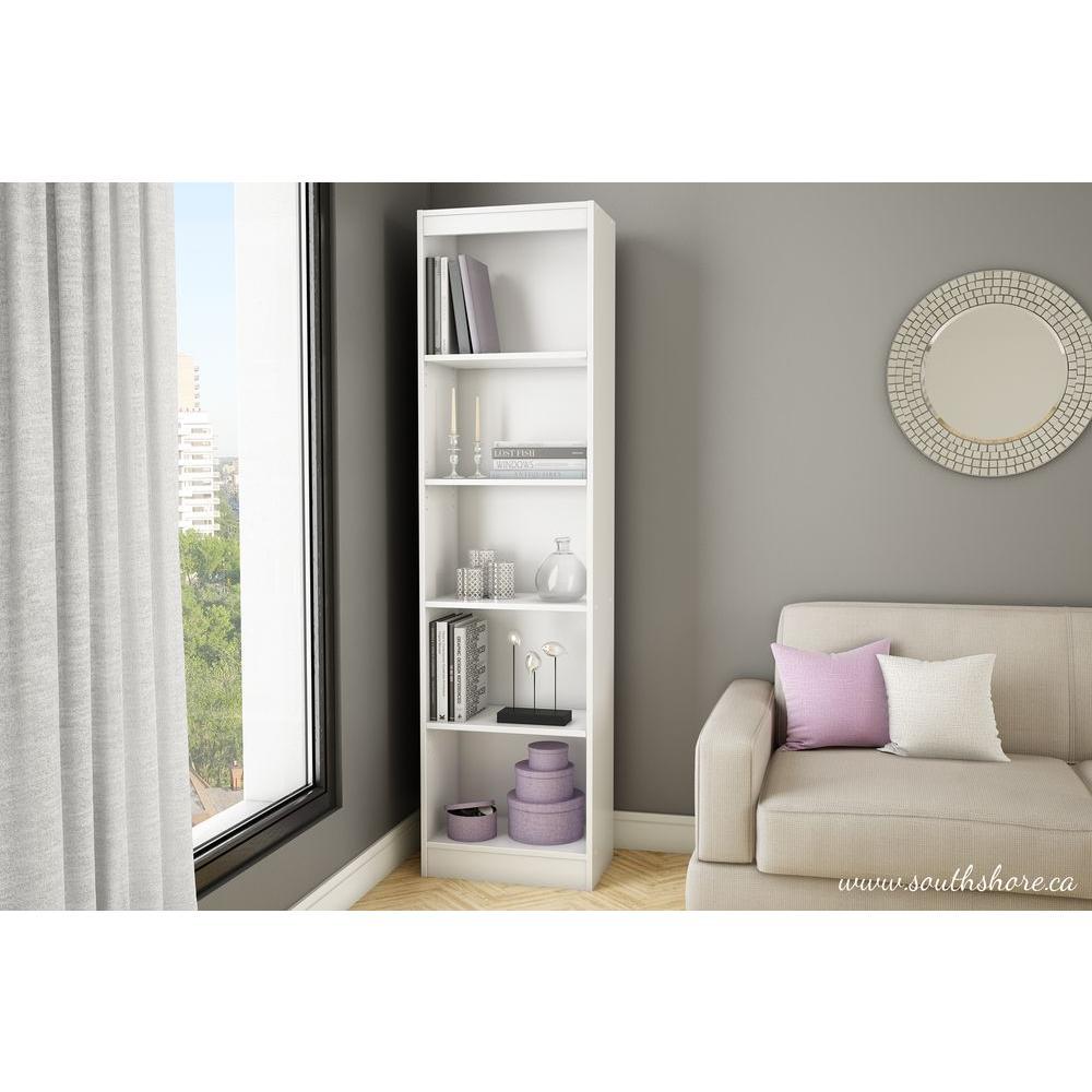 Axess 5-Shelf Bookcase in Pure White