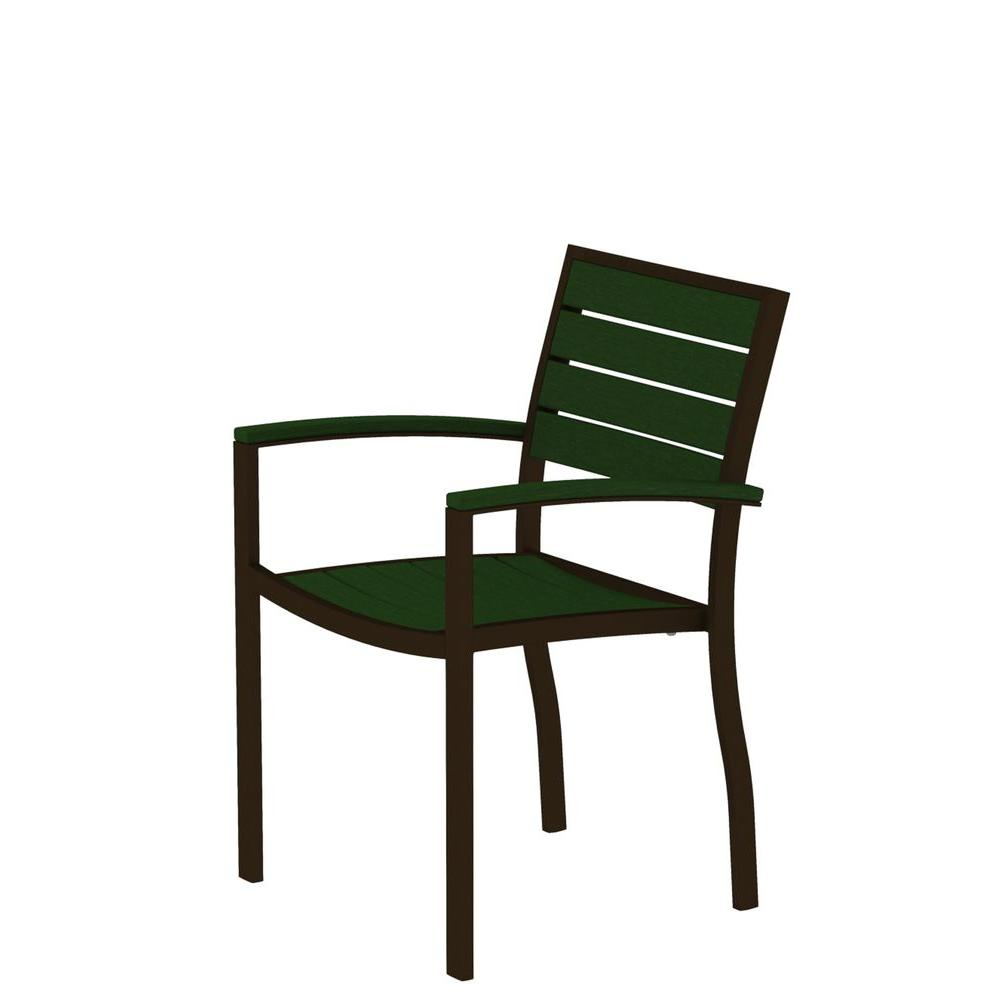 Euro Textured Bronze Patio Dining Arm Chair with Green Slats