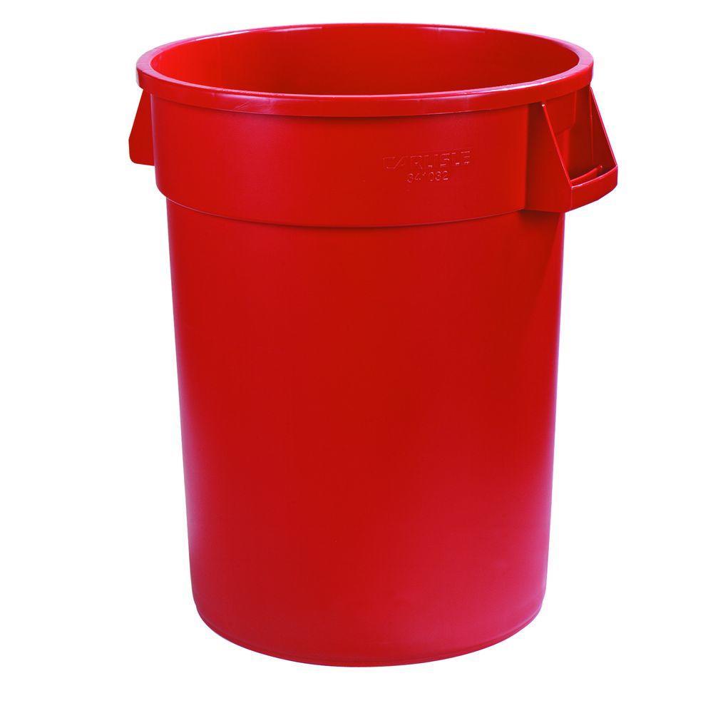 Carlisle Bronco 55 Gal Red Round Trash Can 2 Pack