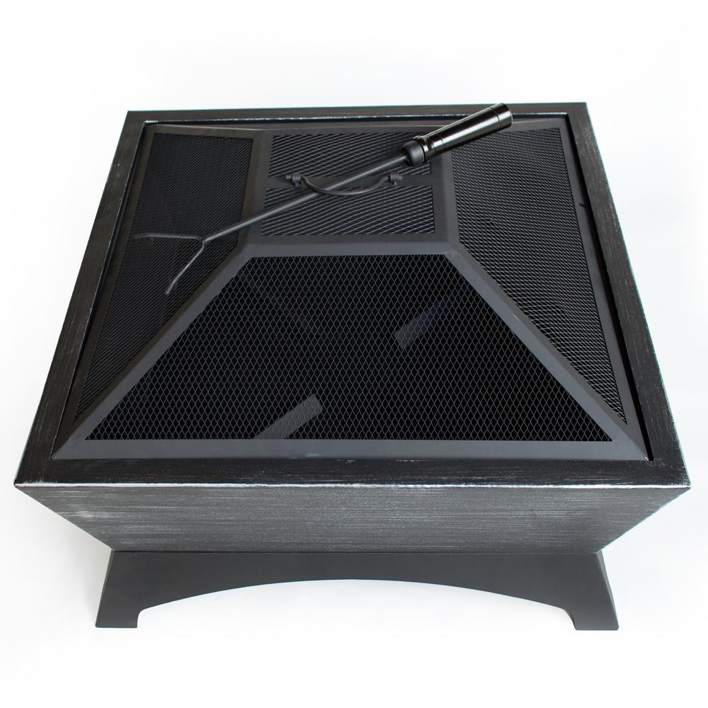 Outdoor Escapes 26 in. W x 16 in. H Square Steel Wood Burning Fire Pit