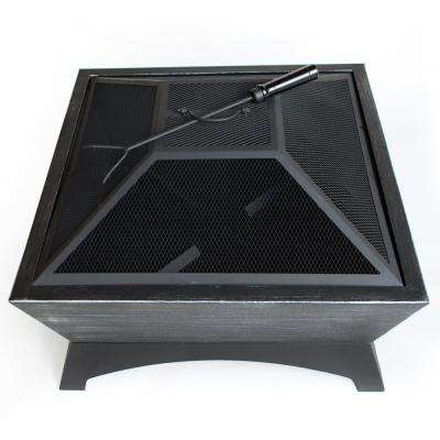 26 in. W x 16 in. H Square Steel Wood Burning Fire Pit