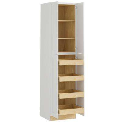 Newport Assembled 24x96x24 in. Plywood Shaker Utility Kitchen Cabinet Soft Close 4 rollouts in Painted Pacific White