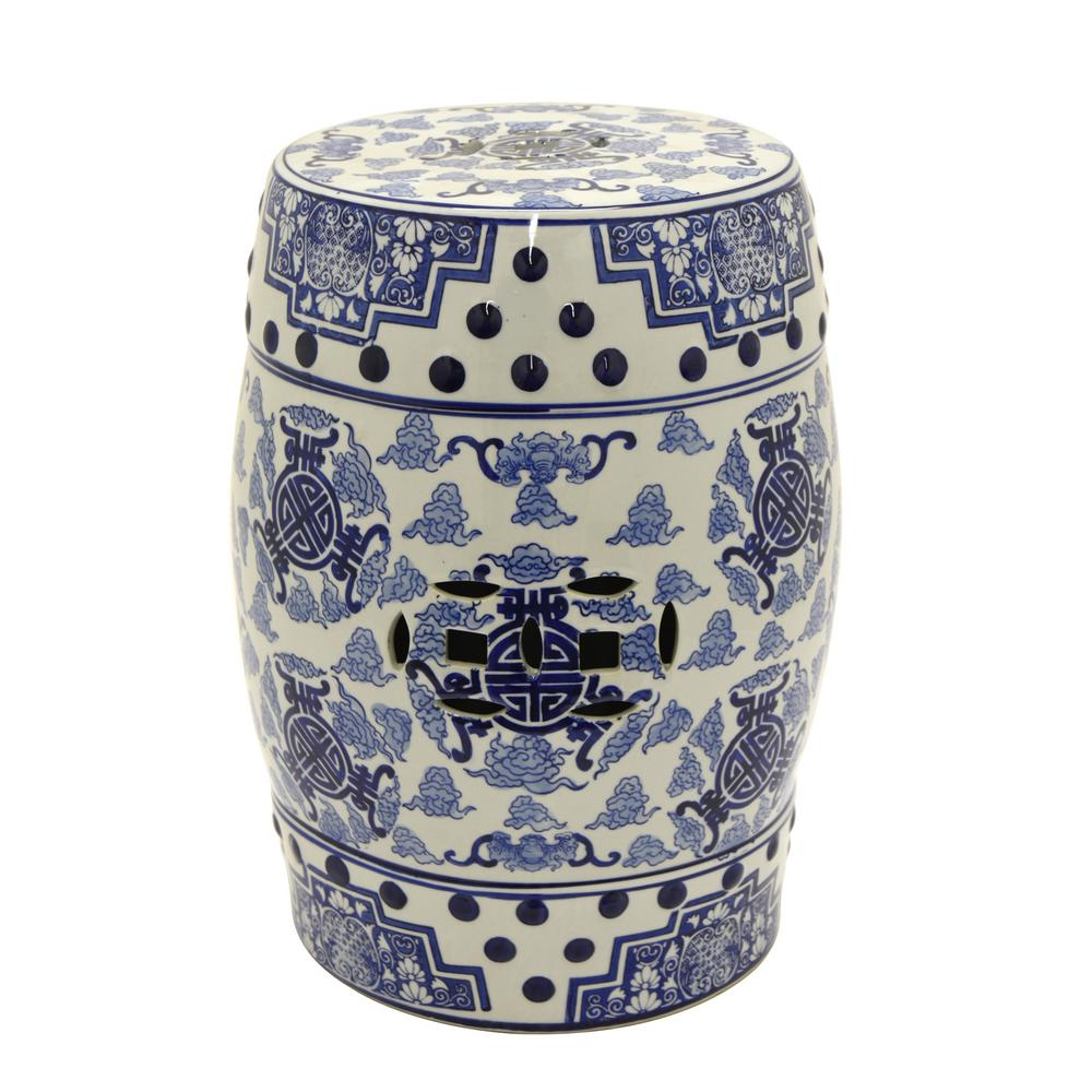 THREE HANDS 18 in x 13 in Blue and White Ceramic Garden Stool