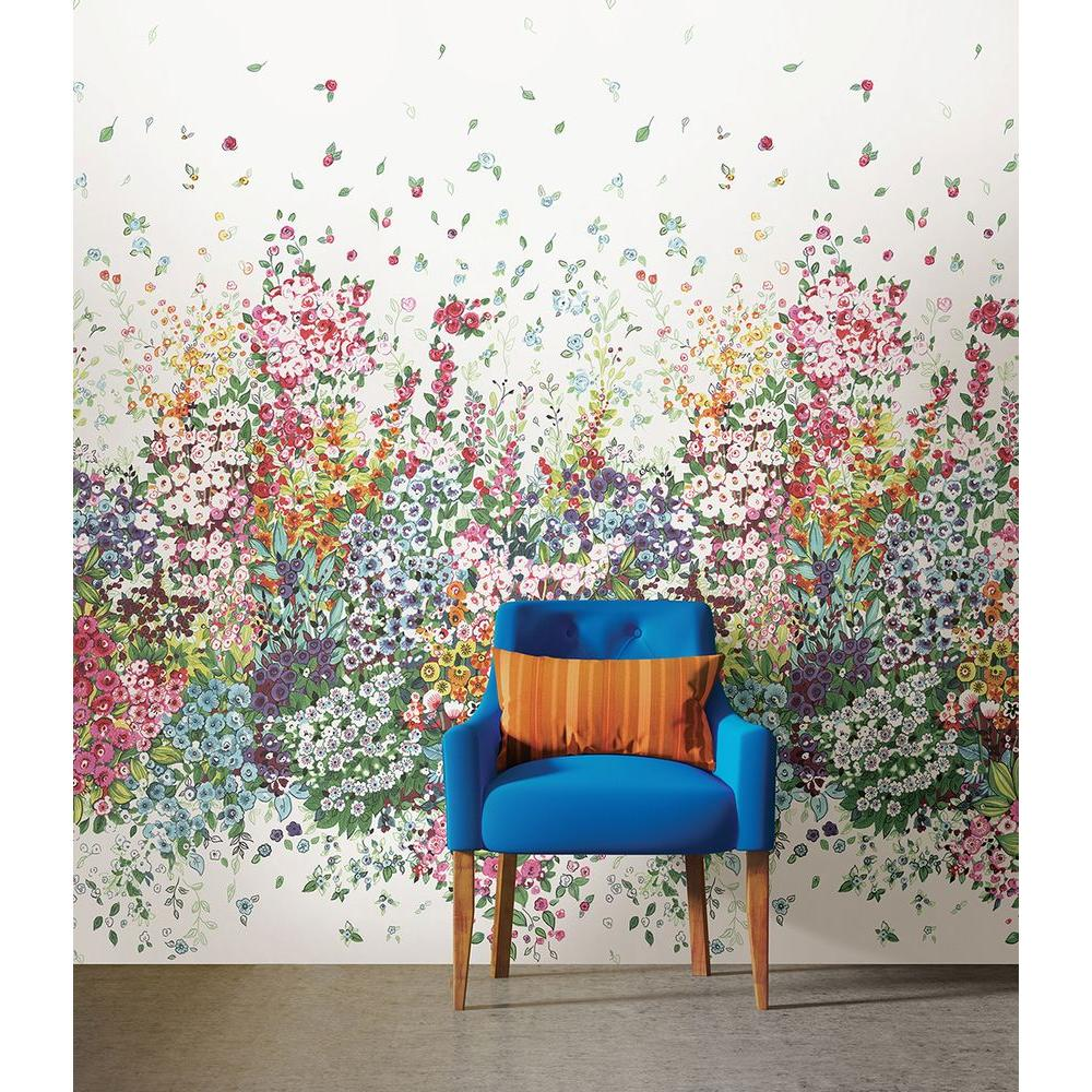 Brewster 108 in h x 72 in w meadow multicolor wall mural for Brewster birch wall mural