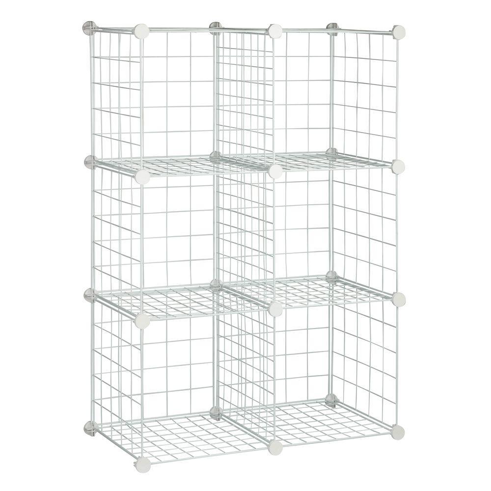 45 in. H x 15 in. W x 30 in. D White Steel 6-Cube Storage Organizer