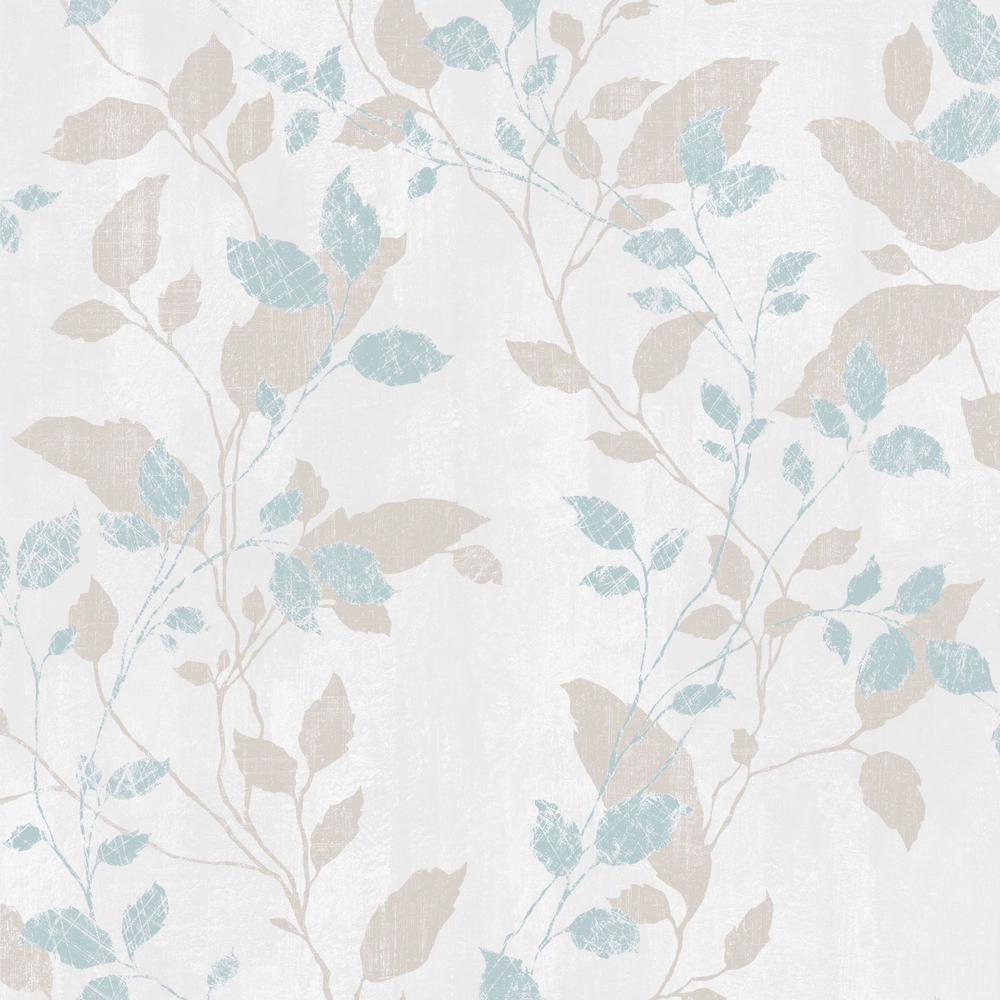 Graham Brown Vermeil Leaf Aqua Green And Beige Removable Wallpaper