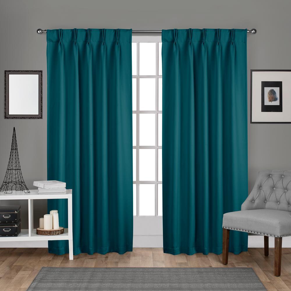 Sateen Pinch Pleat Teal Woven Blackout Window Curtain