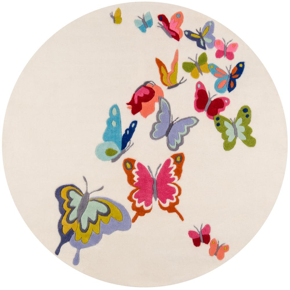 Lil Mo Whimsy Butterfly Ivory 5 ft. x 5 ft. Indoor