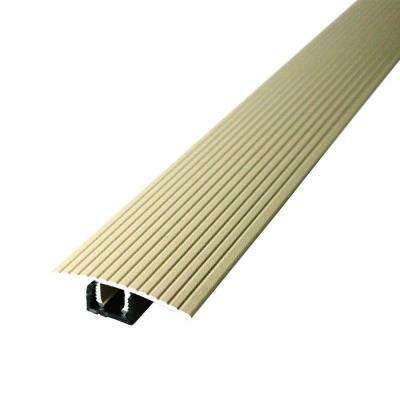 Cinch 1.5 in. x 36 in. Beige Fluted T-Molding Transition Strip for Similar Height Floors with Snap Track