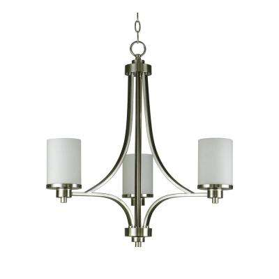 3-Light Satin Steel Chandelier with Etched White Glass Shade
