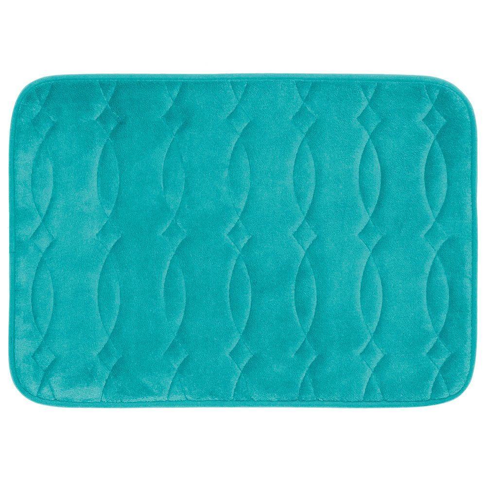 Grecian Turquoise 20 in. x 34 in. Memory Foam Bath Mat