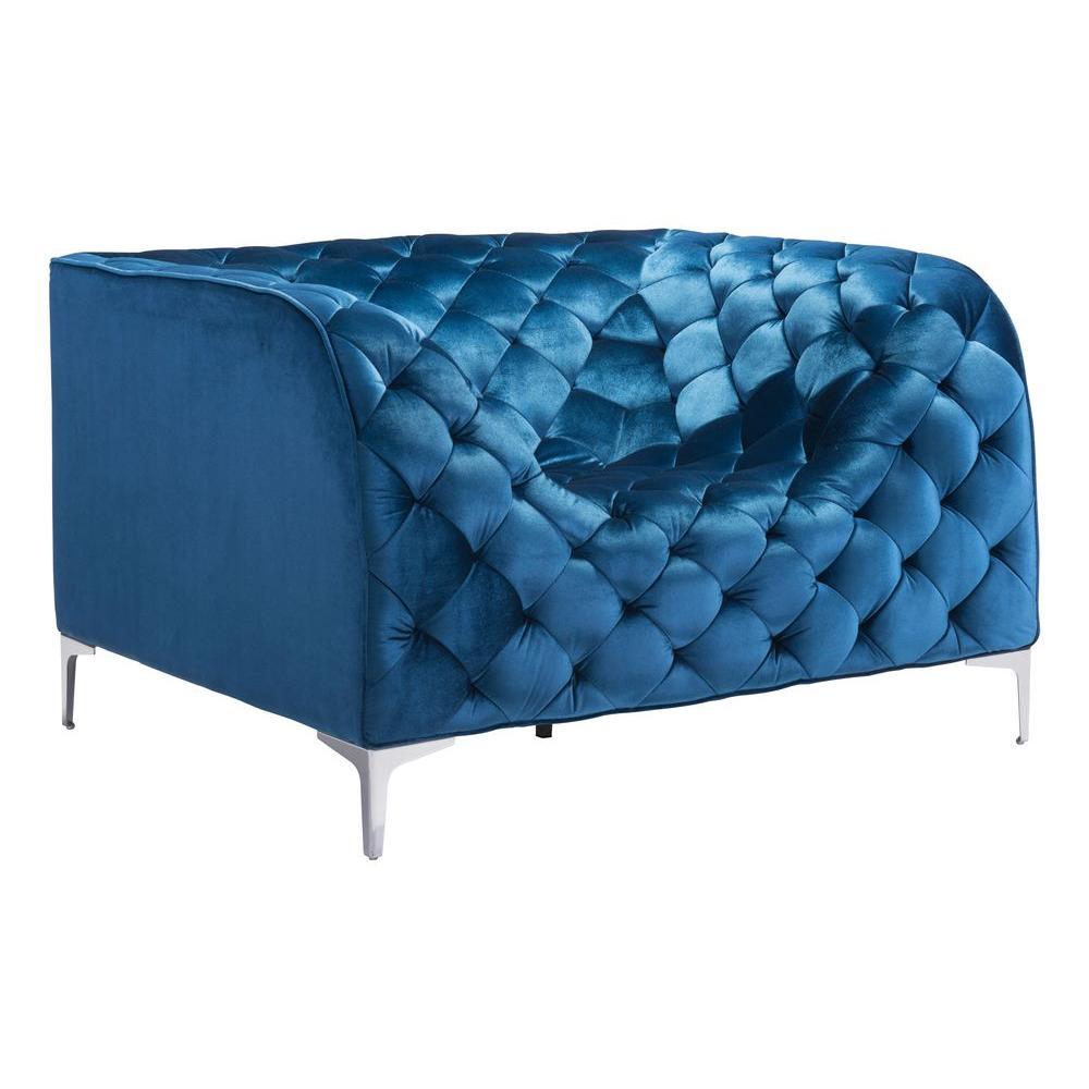 Internet #206636751. ZUO Providence Neon Blue Velvet Arm Chair