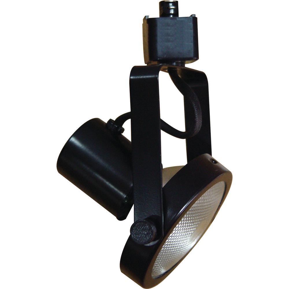 1-Light Black Adjustable Medium Gimbal Ring Track Lighting Head