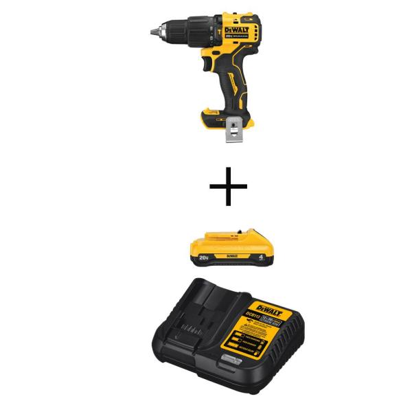 ATOMIC 20-Volt MAX Cordless Brushless Compact 1/2 in. Hammer Drill with (1) 20-Volt 4.0Ah Battery & Charger