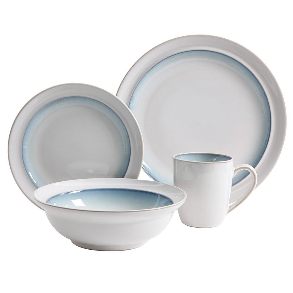 GIBSON ELITE Lawson 16-Piece Teal Dinnerware Set  sc 1 st  Home Depot : gibson dinnerware white - Pezcame.Com