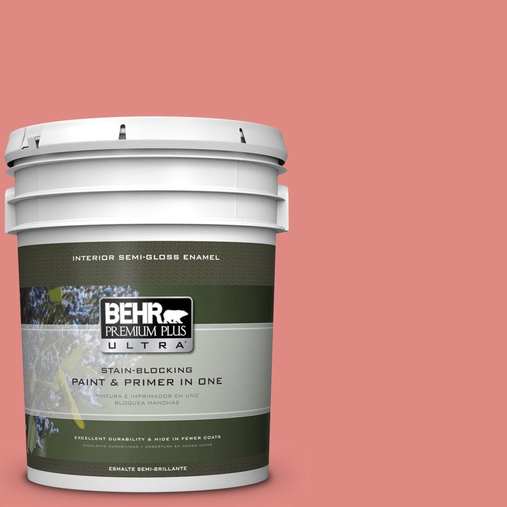 5 gal. #HDC-SP16-12 Begonia Semi-Gloss Enamel Interior Paint