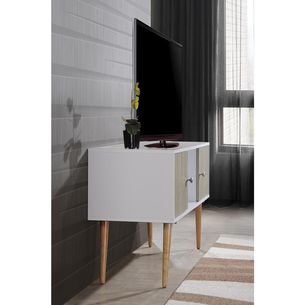 hot sale online 44164 0627f HODEDAH Retro Style Entertainment Unit in White-Grey Oak ...