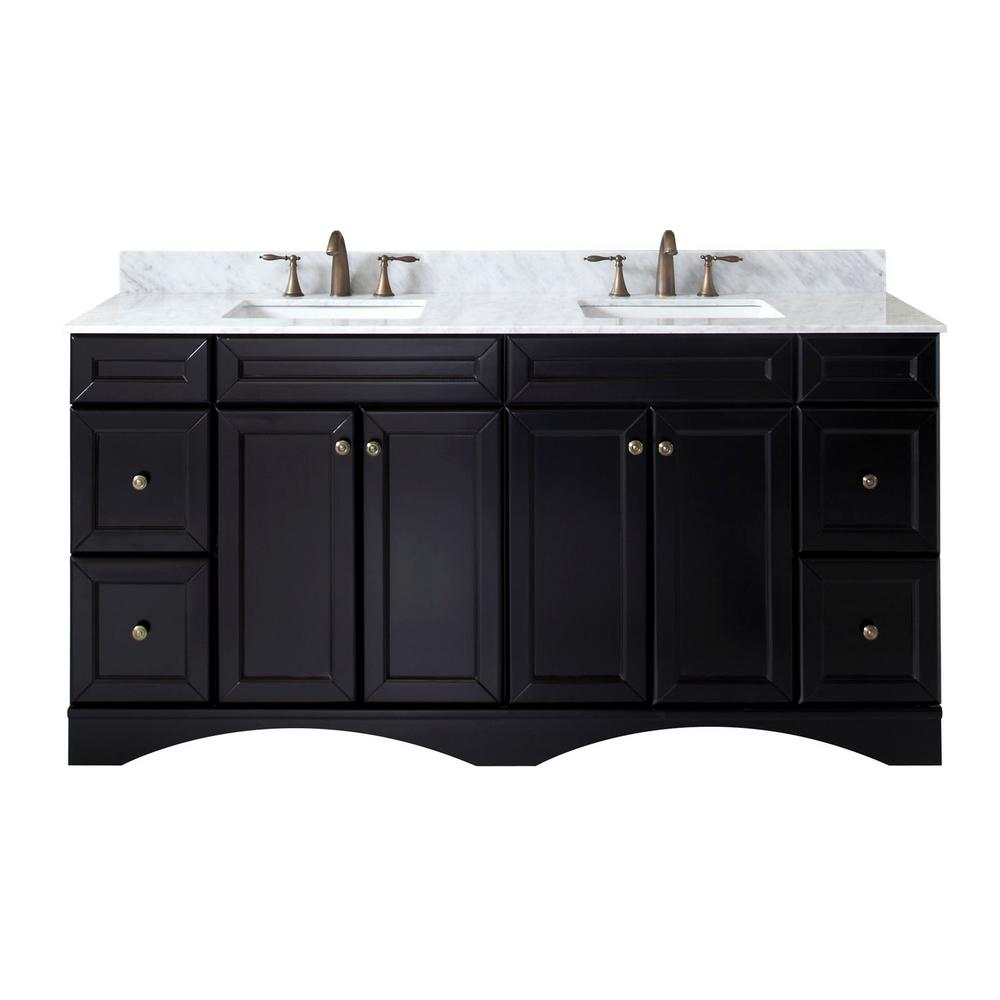 Virtu USA Talisa 72 in. W Bath Vanity in Espresso with Marble Vanity Top in White with Square Basin